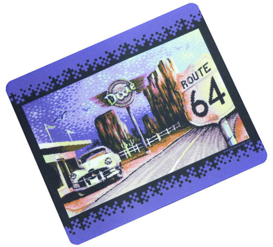 Retro Pixelgrafik Mousepad Route 64 vorne