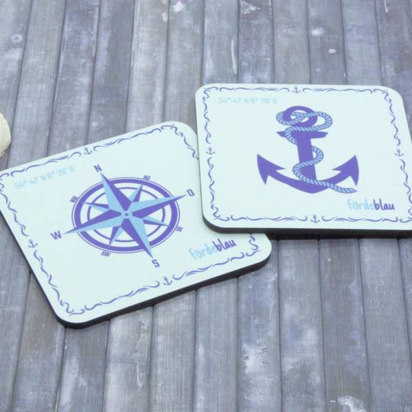 Glasuntersetzer maritim bedruckt mit Anker, Kompass und Koordinaten, 2er Set