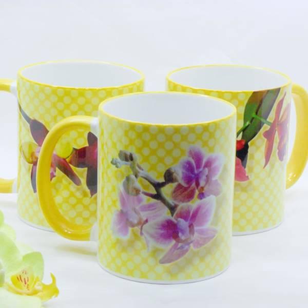 Geschenk für Orchideen Fans – Blüten Kaffeebecher aus Keramik bedruckt, in verschiedenen Varianten