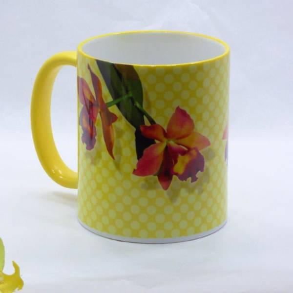 Orchideen Kaffeebecher Keramik bedruckt