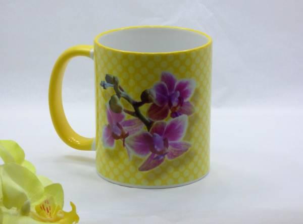 Orchideen Kaffeebecher Keramik Mini Schmetterlingsorchidee bedruckt