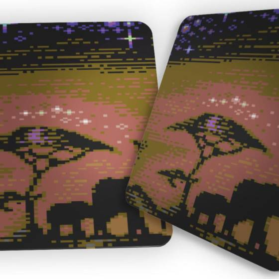 "2er Set Kork Untersetzer mit Commodore C64 8bit Grafik ""African Night"""