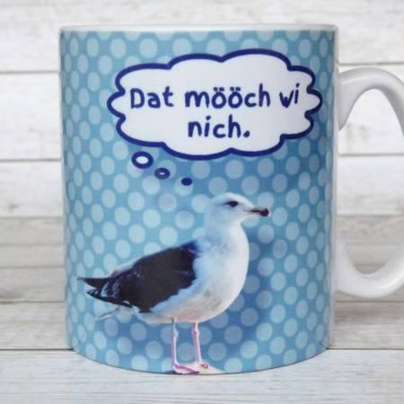 """Kaffeetasse mit norddeutschem Spruch """"Dat mööch wi nich"""""""