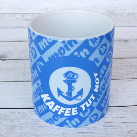 "Lustiger Kaffeebecher ""Kaffee tut Not"" maritim mit Ankersymbol"