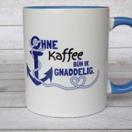 Maritimer Kaffeebecher mit norddeutschem Spruch