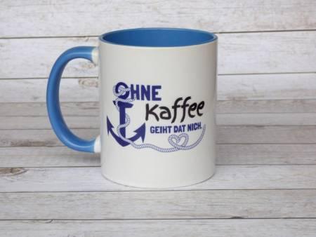Fördeblau Kaffeebecher maritim plattdeutscher Spruch