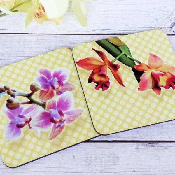 2er Set Orchideen Blumen-Untersetzer für Gläser mit Blüten-Motiv bedruckt