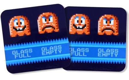 Retro Arcade Gaming Glasuntersetzer Glass Full Glass Empty