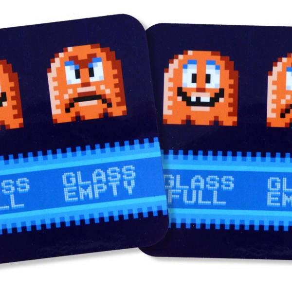 "Glasuntersetzer in Retro Pixel Art ""glass full"" ""glass empty"" – 2er Set Pixelmotiv"