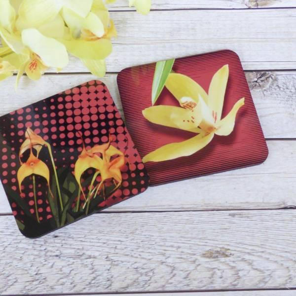 Orchideen Blüte Untersetzer für Gläser bedruckt 2er Set