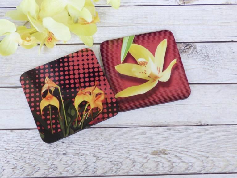 Untersetzer Orchideen Blüten Masdevallia und Cymbidium