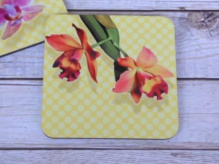 Orchideen Untersetzer für Gläser aus Holz Mini-Phalaenopsis, Cattleya
