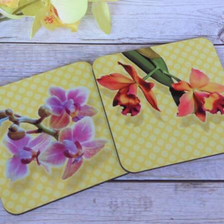 Orchideen Untersetzer für Gläser bedruckt 2er