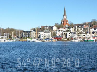 Flensburg mit Längen und Breitengrad