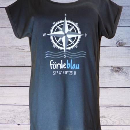 Fördeblau Damen T-Shirt mit Kompassrose