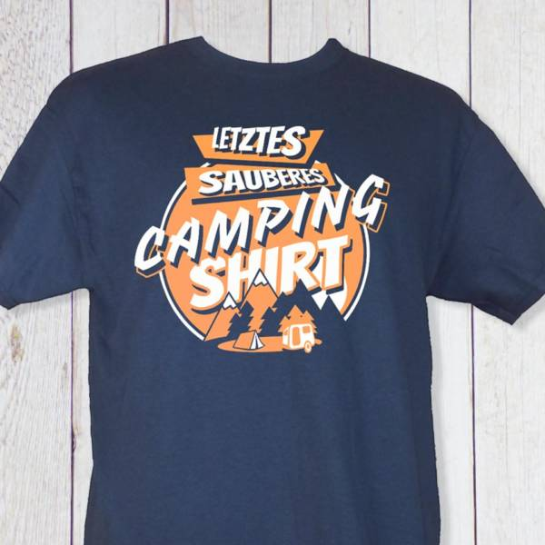 Lustiges Herren T-Shirt 'Letztes sauberes Camping Shirt' in Dunkelblau (Navy-blue)