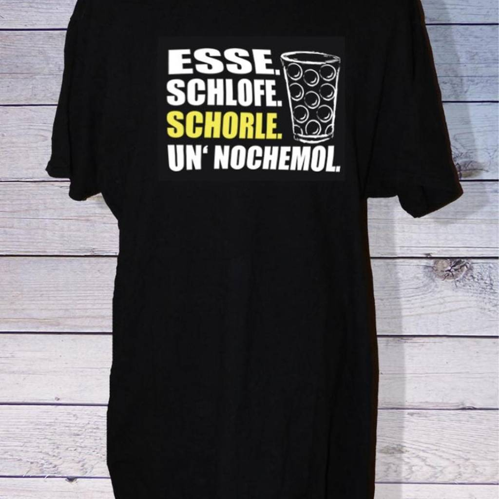 """Herren Pfalz T-Shirt – Lustiger Spruch auf Pfälzisch """"Esse. Schlofe. Schorle. un' nochemol"""""""