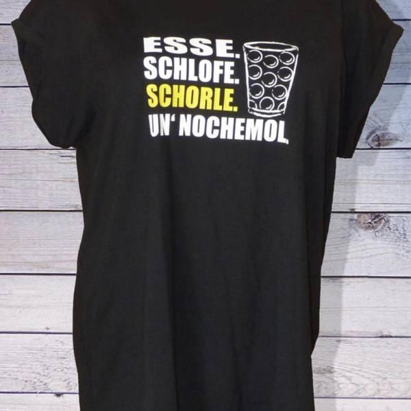 """Lustiges Damen T-Shirt mit Pfälzer Spruch: """"Esse Schlofe Schorle un' nochemol"""""""
