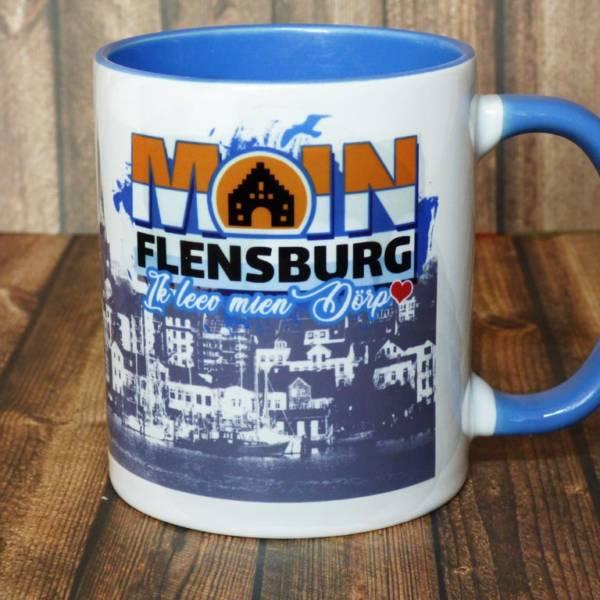"""Kaffeebecher mit Flensburger Motiv als Geschenk """"Moin Flensburg – Ik leev mien Dörp"""""""