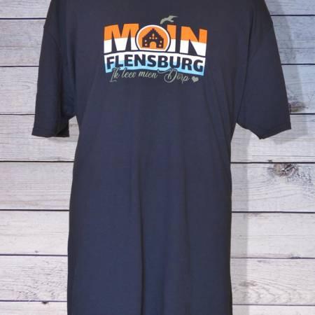 Herren T-Shirt : Moin Flensburg – Ik leev mien Dörp