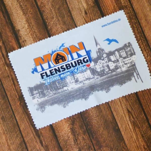 Glasputztuch (auch Brillenputztuch) – mit Flensburger Motiv aufgedruckt