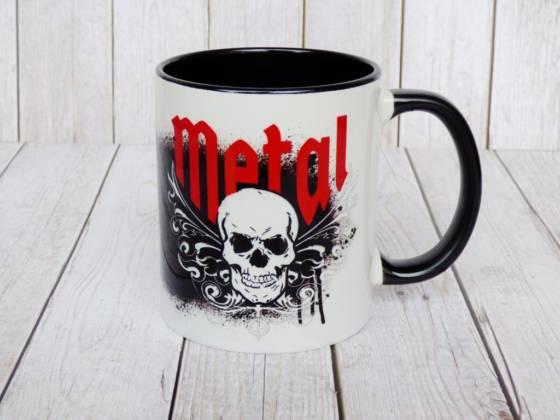 Heavy Metal oder Hardrock Tasse mit Totenkopf und Tribals