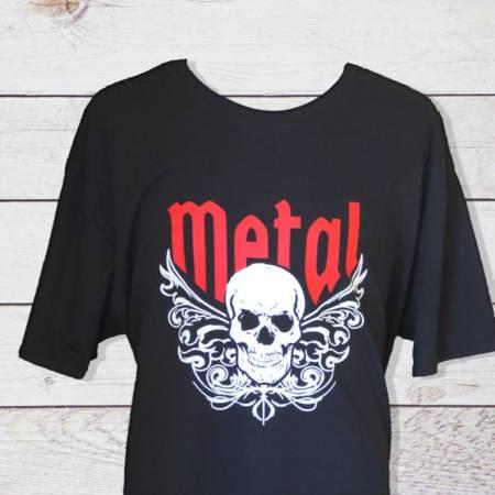 Herren T-Shirt für Heavy Rock Fans mit Totenschädel und Tribals