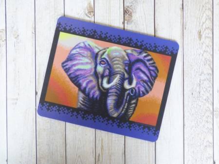 Mousepad Tischunterlage mit Elefanten Motiv als Pixel-Kunst