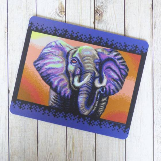 Pixel-Kunst Mousepad Tischunterlage mit Elefanten Motiv
