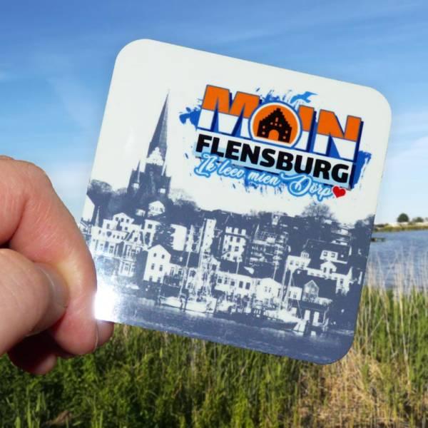 """""""Moin Flensburg"""" Untersetzer mit Flensburger Hafen Skyline"""