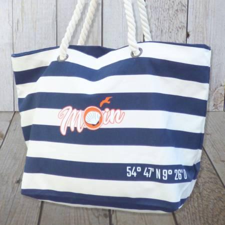 """Strandtasche maritim mit Reißverschluss blau gestreift mit """"Moin"""" bedruckt"""