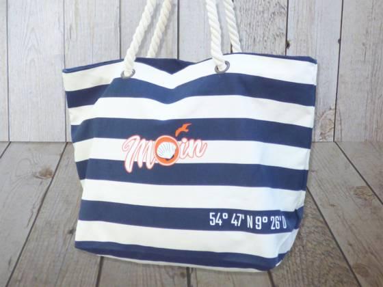 Strandtasche maritim blau gestreift mit Moin bedruckt