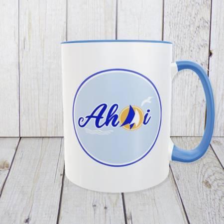 Ahoi – Kaffeetasse mit Segeln und Möwe für Fans des maritimen