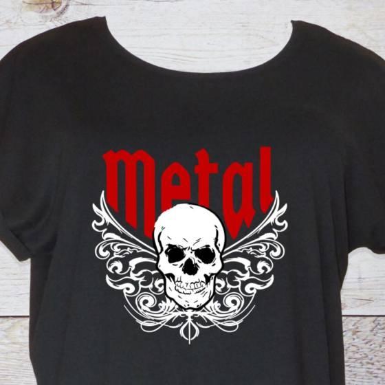 Heavy Metal T-Shirt für Damen mit Totenkopf und Tribal Motiv