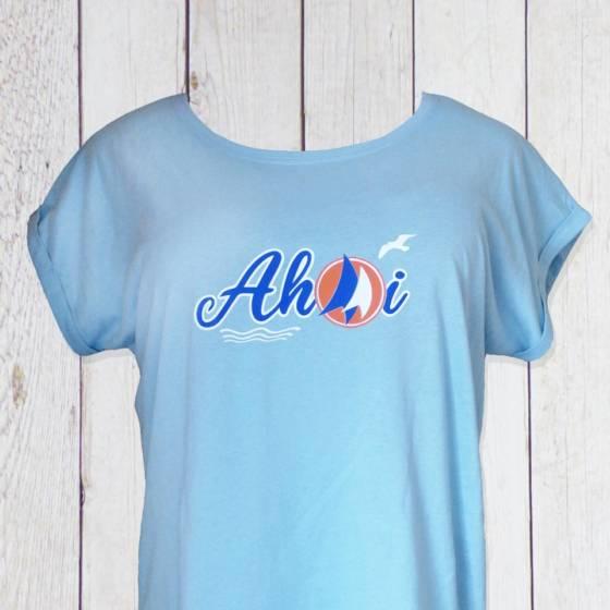 Damen T-Shirt maritim, mit Ahoi, Segeln und Möwen bedruckt