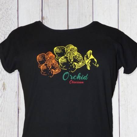 Damen T-Shirt mit Orchideenblüte bedruckt (Schmetterlings-Orchidee)