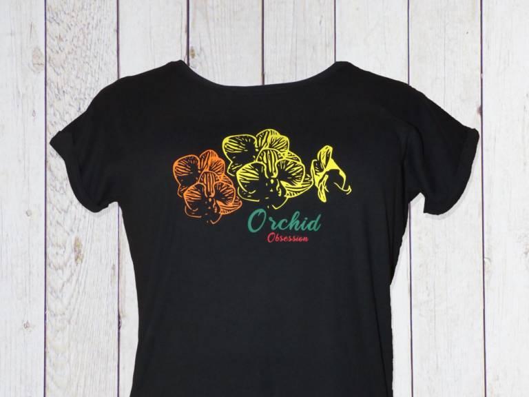 Damen T-Shirt mit Orchideen Blüten