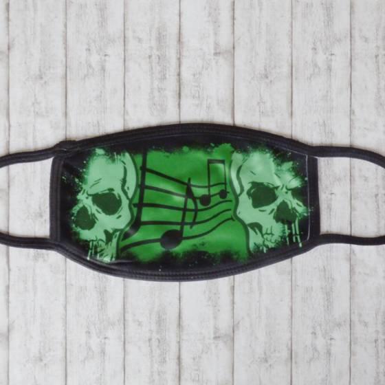 Coole Totenkopf Alltagsmaske / Behelfsmaske im Rock und Heavy Metal Design mit Musik-Noten
