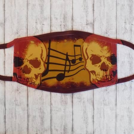 Mund- & Nasenmaske / Community-Maske im Totenkopf-Design für Musik-Fans