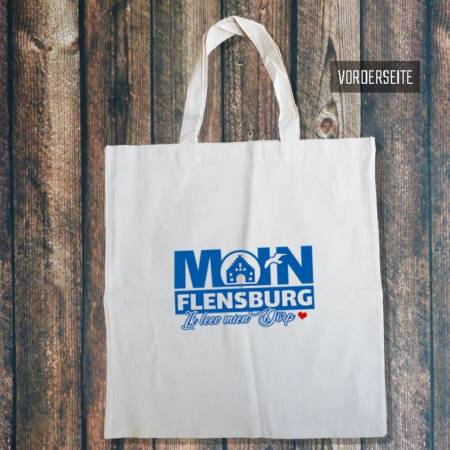"""Baumwolltasche zum Einkaufen """"Moin Flensburg ik leev mien Dörp"""""""
