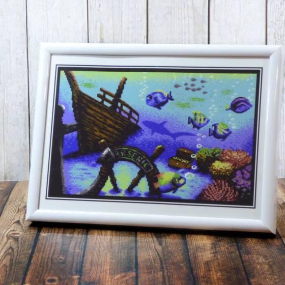 Maritimes 8bit Pixel-Design Artwork (Unterwasser-Motiv) im wählbaren Rahmen zum Stellen oder Hängen, 18x13cm
