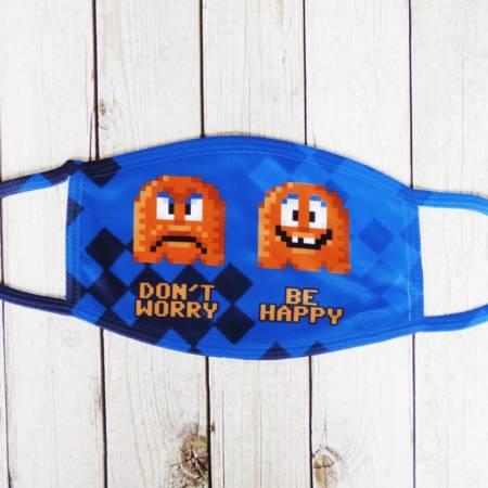 """Lustige Behelfsmaske mit Gesichtern im Pixel-Design: """"Don't worry, be Happy"""""""