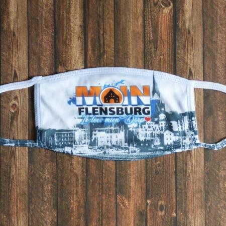 """Mund & Nasen Maske / Stoffmaske """"Moin Flensburg ik leev mien Dörp"""""""