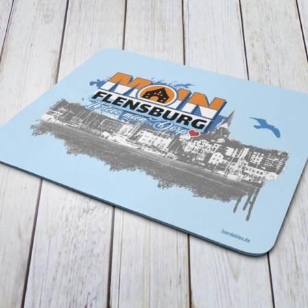 "Mousepad mit Flensburger Hafen Motiv als Geschenk ""Moin Flensburg ik leev mien Dörp"""