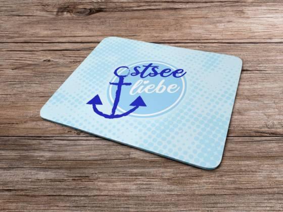 Mousepad maritim Ostsee Liebe mit Anker Motiv