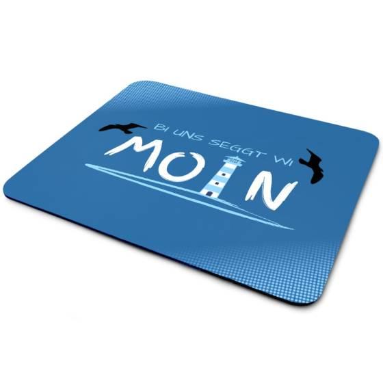 Mousepad mit Leuchtturm, Möwen und Moin Text