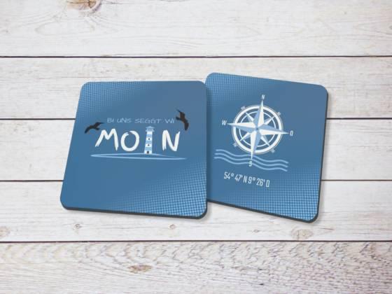 Untersetzer Set maritim Moin und Kompassrose