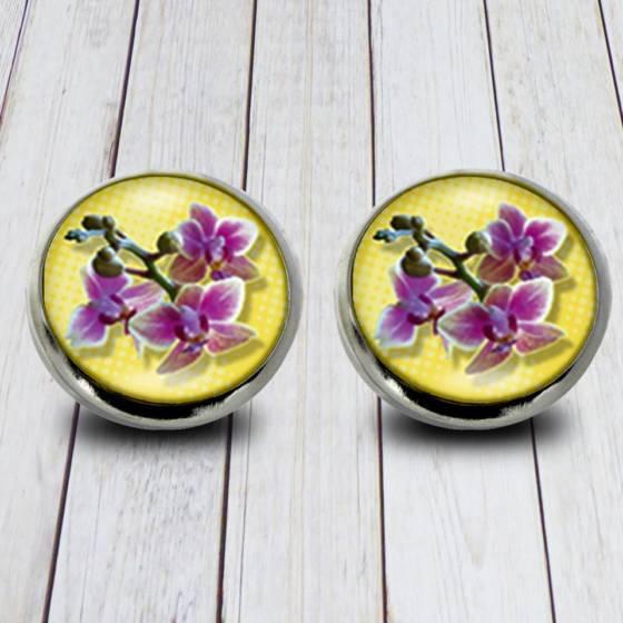 Blumen Ohrstecker/Ohrringe mit Orchideen Blüte für Damen