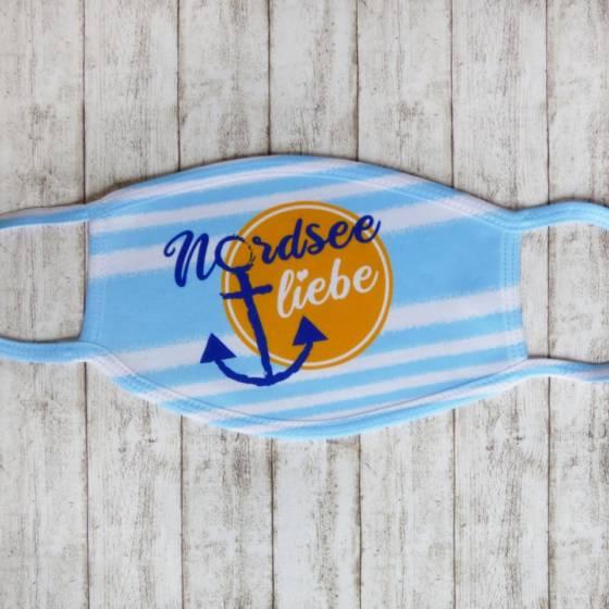 """Maritime Gesichtsmaske mit Anker und Text """"Nordsee Liebe"""""""