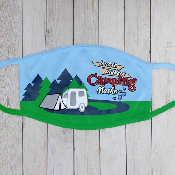 Lustige Mund-Nasen-Maske mit Spruch 'Letzte saubere Camping Maske'